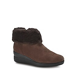 Geox - Brown suede 'Stardust' wedge heel ankle boots