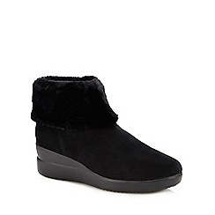 Geox - Black Suede 'Stardust' Wedge Heel Ankle Boots