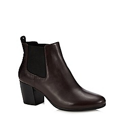 Geox - Brown Leather 'Lucinda' Block Heel Ankle Boots