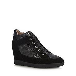 Geox - Black suede 'Carum' wedge heel boots