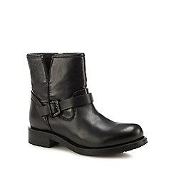 Geox - Black leather 'D Rawelle' low heel biker boots