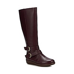 FitFlop - Dark Red Leather 'Noemi' Knee High Boots