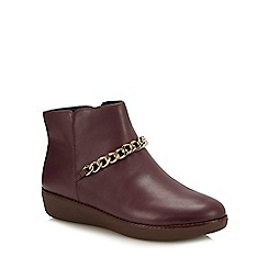 FitFlop - Plum Leather 'Pia Chain' Ankle Boots