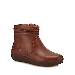FitFlop - Tan Leather 'Skatebootie' Ankle Boots