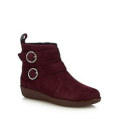 FitFlop - Plum Suede 'Oona Buckle' Ankle Boots