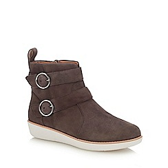 FitFlop - Grey Suede 'Oona Buckle' Ankle Boots