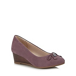 Hush Puppies - Lilac leather 'Morkie Charm' wedge heel court shoes