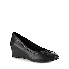 Hush Puppies - Black leather 'Morkie Charm' wedge heel court shoes