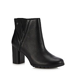 Hush Puppies - Black Leather 'Spaniel' Block Heel Ankle Boots