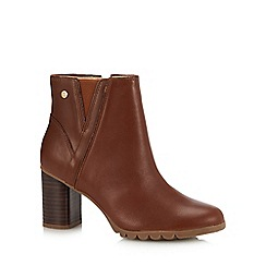 Hush Puppies - Tan Leather 'Spaniel' Block Heel Ankle Boots