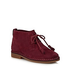 Hush Puppies - Dark red suede 'Cyra Catelyn' block heel ankle boots