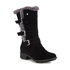Hush Puppies - Black suede 'Saluki' block heel calf length boots