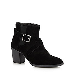 Hush Puppies - Black Suede 'Shilo' Block Heel Ankle Boots