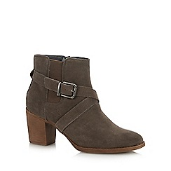 Hush Puppies - Grey Suede 'Shilo' Block Heel Ankle Boots