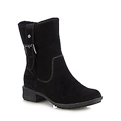 Hush Puppies - Black suede 'Collie' block heel calf length boots