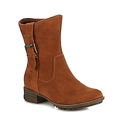 Hush Puppies - Tan suede 'Collie' block heel calf length boots