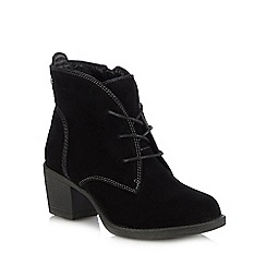 Hush Puppies - Black suede 'Moscow' block heel lace up boots