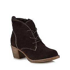Hush Puppies - Dark brown suede 'Moscow' block heel lace up boots