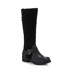 Hush Puppies - Black suede 'Pomeranian' block heel knee high boots