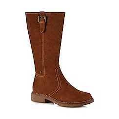 Hush Puppies - Tan suede 'Cordoba' block heel calf length boots
