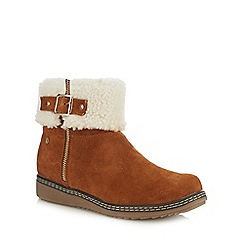 Hush Puppies - Tan suede 'Maltese' wedge heel ankle boots