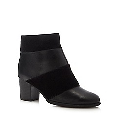 Lotus - Black leather and suede 'Mantura' mid block heel ankle boots