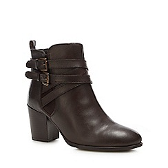 Lotus - Brown leather 'Taggerty' mid block heel ankle boots
