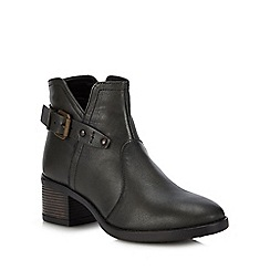 Lotus - Olive leather 'Tapti' mid block heel ankle boots