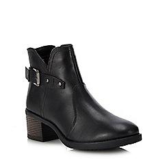 Lotus - Black leather 'Tapti' mid block heel ankle boots
