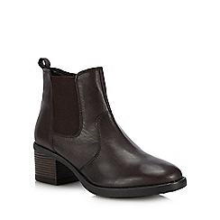 Lotus - Brown leather 'Rubay' block heel Chelsea boots