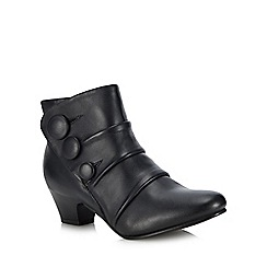 Lotus - Navy leather 'Stride' mid block heel ankle boots