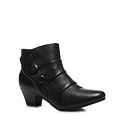 Lotus - Black leather 'Stride' mid block heel ankle boots