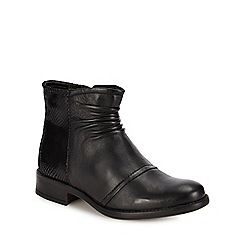 Lotus - Girl's Black Leather Mid Kitten Heel Ankle Boots