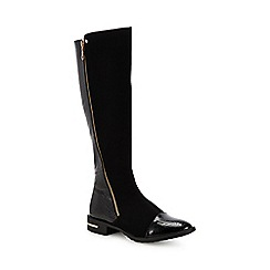 Lotus - Black 'Pontal' block heel knee high boots