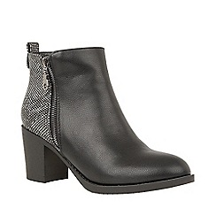 Lotus - Black Faux Leather Mid Block Heel Ankle Boots