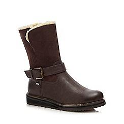 Lotus - Brown 'Omar' wedge heel calf boots