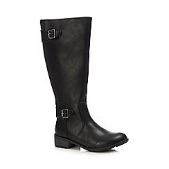 Lotus - Black 'Beal' block heel knee high boots