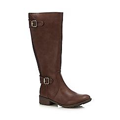 Lotus - Brown 'Beal' block heel knee high boots