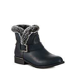 Lotus - Navy blue faux fur 'Ellen' block heel ankle boots