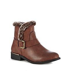 Lotus - Brown faux fur 'Ellen' block heel ankle boots