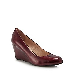 Lotus - Red patent 'Cache' high wedge heel court shoes