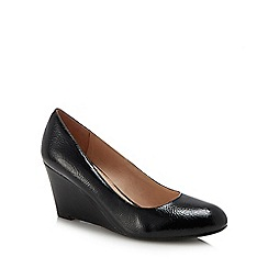 Lotus - Black patent 'Cache' high wedge heel pumps