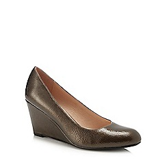 Lotus - Brown patent 'Cache' high wedge heel pumps