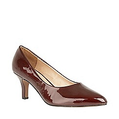 Lotus - Dark red patent 'Clio' kitten heel court shoes