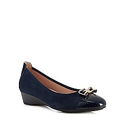 Lotus - Navy suedette and patent 'Kantor' wedge heel pumps