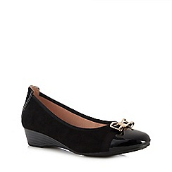 Lotus - Black suedette and patent 'Kantor' wedge heel pumps