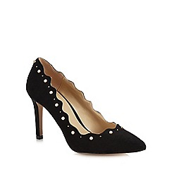 Lotus - Black pearl suedette 'Popple' high stiletto heel court shoes