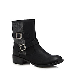 Lotus - Black 'Conniston' mid block heel biker boots