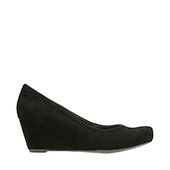 Clarks - Black 'Laina Violet' Mid Wedge Heel Shoes
