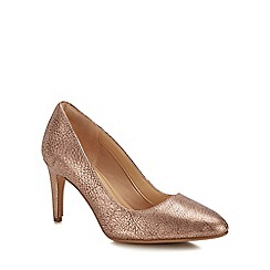 Clarks - Rose gold leather 'Laina Rae' high stiletto heel court shoes